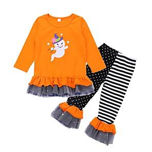 tanie Zestawy ubrań dla dziewczynek-Brzdąc Dla dziewczynek Podstawowy Halloween Kreskówki Halloween Nadruk Długi rękaw Regularny Regularny Komplet odzieży Pomarańczowy