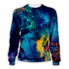 cheap Prints-Men's Daily Pullover Sweatshirt Graphic Round Neck Casual Hoodies Sweatshirts  Royal Blue