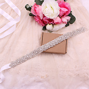 cheap Party Sashes-Satin / Tulle Wedding / Party / Evening Sash With Imitation Pearl / Belt / Appliques Women's Sashes