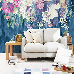 cheap Wallpaper-Custom Self-adhesive Mural Wallpaper Blue Background Flowers Suitable For Bedroom Living Room Cafe  Children's Room Wall Decoration Art Art Deco   Wall Cloth Room Wallcovering