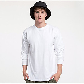 cheap Hiking Trousers & Shorts-Men's T-shirt Solid Color Long Sleeve Tops 100% Cotton Casual / Daily Round Neck Navy White Black / Sports / Spring / Summer