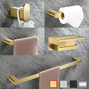 cheap Classical-Bathroom Hardware Accessory Set -Towel Bar Toilet Paper Holder Robe Hook-Stainless Steel Low Carbon Steel Metal Wall Mounted