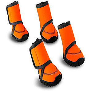 cheap Dog Collars, Harnesses & Leashes-waterproof dog shoes fluorescent orange dog boots adjustable straps and rugged anti-slip sole paw protectors for all weather comfortable easy to wear suitable for large dog