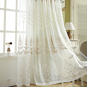 cheap Sheer Curtains-2 Panels Sheer Curtains for Living Room, Floral Leaf Embroidery Sheer Curtains for Bedroom Embroidery Window Curtains