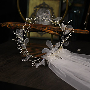 cheap Wedding Veils-One-tier Flower Style / Floral Wedding Veil Shoulder Veils with Pendant / Solid Tulle