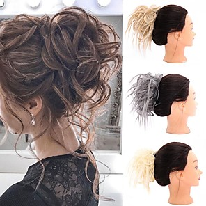 cheap Synthetic Trendy Wigs-Human Hair Lace Wig Casual / Daily Hair Bun Adorable / New Arrival / Fashion Synthetic Hair Hair Piece Hair Extension Casual / Daily Natural Black #1B / Medium Brown / Golden Brown#12