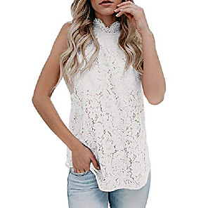 cheap Hair Jewelry-womens sleeveless lace tank top crochet halter embroidered sexy summer cami blouse white