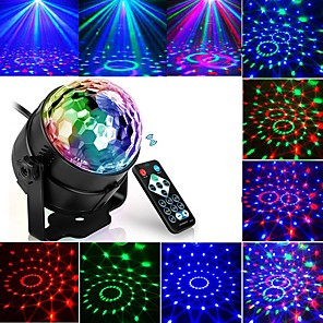 cheap Projectors-Projection lamp night light Led Disco Light Music Sound Activated Stage Lights Mini Rotating Laser Projector Christmas Party Show Effect Lamp with Control