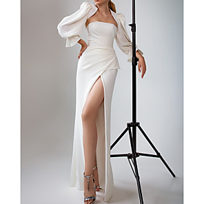 cheap Historical & Vintage Costumes-A-Line Wedding Dresses Strapless Floor Length Satin Long Sleeve Simple with Ruched Split Front 2020