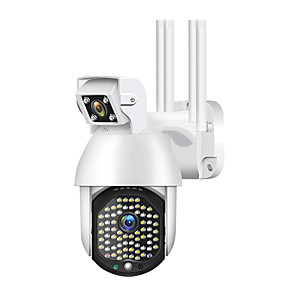 cheap Outdoor IP Network Cameras-IP Camera Outdoor Dual Lens PTZ 1080p Wifi Camera 72 Led Infrared Night Vision Automatic Tracking Bidirectional Audio Home Security Monitoring Camera