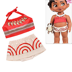 cheap Movie & TV Theme Costumes-Moana Skirt Cosplay Costume Outfits Kid's Girls' Cosplay Halloween Halloween Festival / Holiday Polyester Red Easy Carnival Costumes / Top / Skirts / Skirts / Top