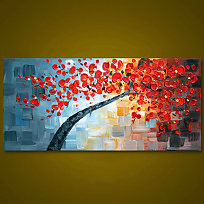 cheap Floral/Botanical Paintings-Unframed Red Flower Tree Thick Textured Hand Painted Palette Knife Oil Painting Home Decor Modern Wall Art Picture For Room Rolled Without Frame
