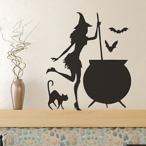 cheap Wall Stickers-Halloween Party Halloween Decor Horror Ghost Halloween Witch Wall Stickers Decorative Wall Stickers, PVC Home Decoration Wall Decal Wall Decoration / Removable