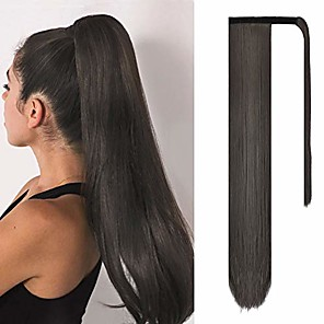 cheap Hair Pieces-straight ponytail extensions 28 inch long wrap around synthetic hair piece clip in ponytail hair extensions hairpiece for women girls 150g