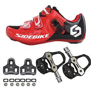 hesapli Bisiklet Ayakkabıları-SIDEBIKE Pedallı ve Kelepçeli Bisiklet Ayakkabıları Yol Bisiklet Ayakkabıları Naylon Karbon fiber Nefes Alabilir Tamponlama Ultra Hafif (UL) Bisiklet Kırmızı / siyah Erkek Bisiklet Ayakkabıları