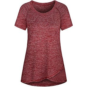 cheap Exercise, Fitness & Yoga Clothing-Women's Round Neck Yoga Top Blue Red Navy Blue Gray Fitness Gym Workout Running T Shirt Short Sleeve Sport Activewear 4 Way Stretch Breathable Comfort Quick Dry Moisture Wicking High Elasticity Loose