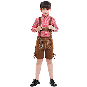 cheap Thermometers-Carnival Oktoberfest Beer Trachtenkleider Boys' Top Shorts Bavarian Costume Red / Cotton
