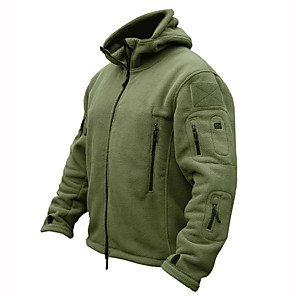 cheap Softshell, Fleece & Hiking Jackets-Men's Hoodie Jacket Hiking Jacket Hiking Fleece Jacket Winter Warm Military Tactical Outdoor Solid Color Thermal Warm Windproof Fleece Lining Breathable Winter Jacket Top Camping Hunting Fishing Black