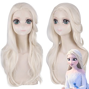 cheap Movie & TV Theme Costumes-Cosplay Costume Wig Cosplay Wig Elsa Frozen II Bouncy Curl With Ponytail Wig Blonde Long Light golden Synthetic Hair 24 inch Women's Anime Fashionable Design Cosplay Blonde
