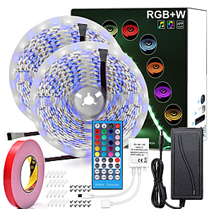 cheap LED Strip Lights-32.8ft RGBW LED Strip Lights Waterproof 2*5 Meters 600LEDs SMD 5050  Warm White Plus RGB Light with 40 Key Remote Controller or 12V Power Supply Kit