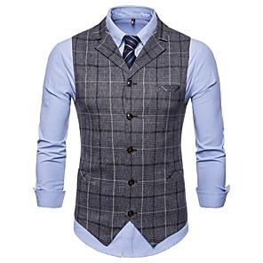 cheap Synthetic Trendy Wigs-Men's Notch lapel collar Vest Dark Gray / Brown XXL / XXXL / XXXXL