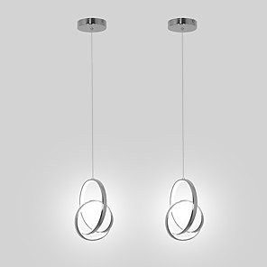 cheap Flush Mounts & Semi Flush Mounts-2 Pieces Mini Pendant Light LED Hanging Lamp Aluminium Chrome for Dining Living Room Kichten Lighting