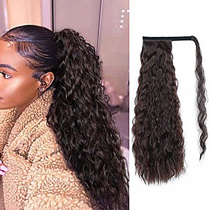 cheap Human Hair Wigs-alimice long corn wave ponytail extension synthetic wavy curly wrap around clip in ponytail hair extensions for women natural hair ponytails for girl lady magic paste ponytail