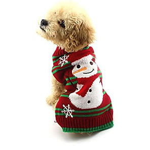 cheap Dog Collars, Harnesses & Leashes-dog clothes snow sweaters snowman sweaters xmas dog holiday sweaters new year christmas sweater pet knit clothes for small dog and cat & #40;xl& #41;