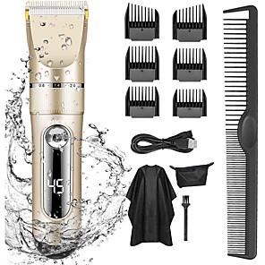 olcso Fürdőszobai kütyük-professzionális hajvágógép férfiaknak gyerekeknek professzionális hajvágókészlet vezeték nélküli újratölthető led kijelzővel öt sebességszabályozó elektromos hajvágógép 6 vezető fésűvel