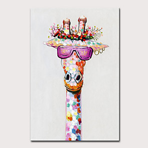 cheap Animal Paintings-Mintura Large Size Hand Painted Abstract Giraffe Animal Oil Paintings on Canvas Pop Art Modern Wall Pictures For Home Decoration No Framed Rolled Without Frame