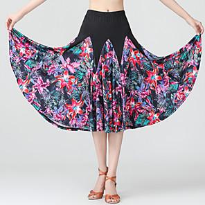 cheap Latin Dancewear-Ballroom Dance Skirts Pattern / Print Ruching Women's Training Performance Natural Polyester