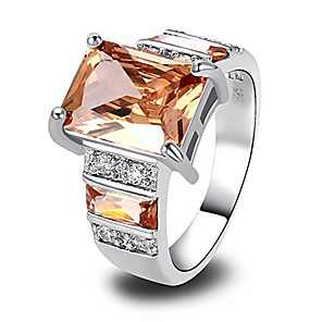 cheap Fine Jewelry-925 sterling silver created morganite filled wide band engagement ring size 7