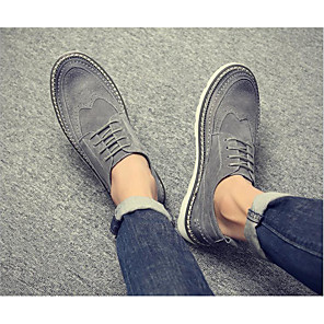 cheap Men's Oxfords-Men's Fall Casual Daily Oxfords Walking Shoes Leather Wear Proof Black / Gray