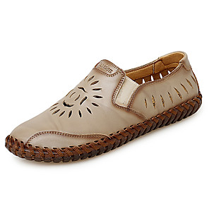 cheap Men's Slip-ons & Loafers-Men's Summer Outdoor Loafers & Slip-Ons Nappa Leather Yellow / Khaki / Brown
