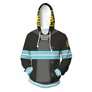 cheap Everyday Cosplay Anime Hoodies & T-Shirts-Inspired by Fire Force Cosplay Costume Hoodie Polyster Print Printing Hoodie For Men's / Women's