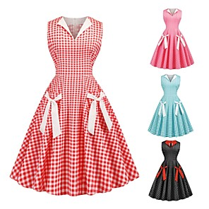 cheap Historical & Vintage Costumes-Audrey Hepburn Polka Dots Retro Vintage 1950s Dress Party Costume Women's Costume Black / Red / Blushing Pink Vintage Cosplay Party / Evening Homecoming Sleeveless
