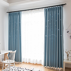 cheap Curtains Drapes-Two Panel Children's Room Hollow Star Blackout Curtains Living Room Bedroom Dining Room Curtains