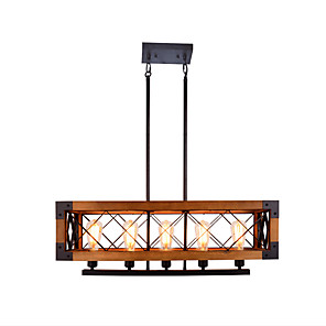 cheap Smartwatches-80 cm American Country Retro Industrial Loft Five Rectangular Solid Wood Chandelier Wood Lamps Household Living Room Restaurant Hotel Lsland Light