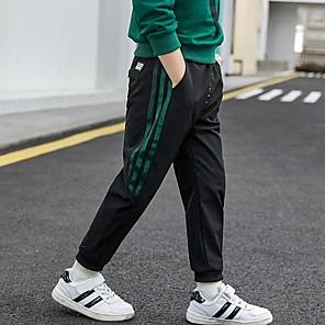 cheap Softshell, Fleece & Hiking Jackets-Kids Boys' Basic Striped Solid Colored Pants Black