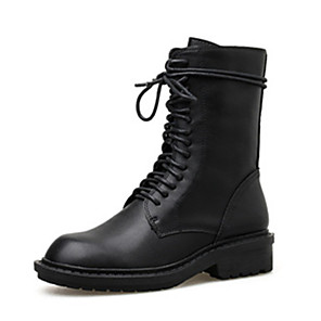 cheap Women's Boots-Women's Boots Cuban Heel Round Toe Casual Daily Solid Colored PU Mid-Calf Boots Black