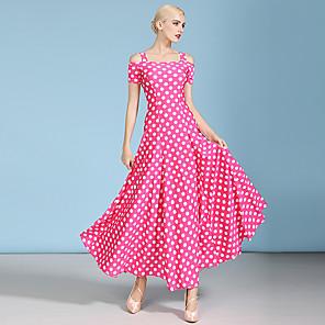cheap Ballroom Dancewear-Ballroom Dance Dress Pattern / Print Ruching Women's Performance Short Sleeve High Spandex