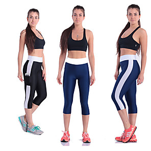 cheap Women's Running Tights & Leggings-Women's Running Tights Leggings Compression Pants Athletic Tights Leggings Capris Side Pockets Yoga Fitness Running Jogging Exercise Breathable Quick Dry Soft Sport Solid Colored White Purple Red