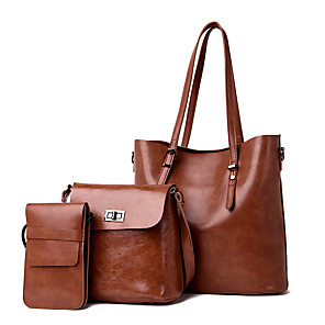 cheap Necklaces-Women's Bags PU Leather Bag Set 3 Pcs Purse Set Zipper for Daily / Holiday Black / Red / Brown / Bag Sets
