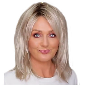 cheap Skin Care-Synthetic Wig Straight Middle Part Wig Medium Length Blonde Synthetic Hair 14 inch Women's Fashionable Design Cool Middle Part Bob Blonde