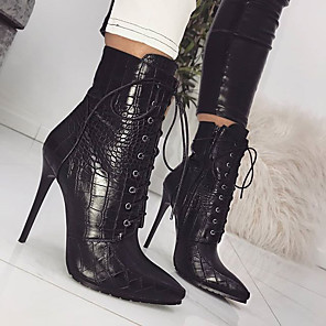 cheap Women's Boots-Women's Boots Stiletto Heel Pointed Toe Casual Basic Daily PU Mid-Calf Boots Walking Shoes Black