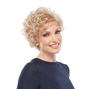 cheap Synthetic Trendy Wigs-Synthetic Wig Curly Pixie Cut Wig Short Blonde Synthetic Hair Women's Classic Exquisite Fluffy Blonde