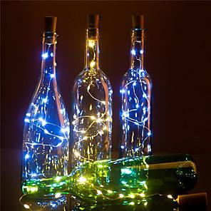 cheap LED String Lights-LED Wine Bottle Lights Cork Shape DIY Decoration 2m 20 LED 10pcs 8pcs 4pcs 1pc Colorful Fairy String Light for Christmas Party Wedding without battery