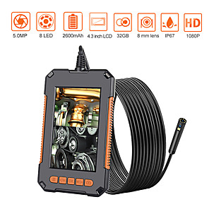 cheap Test, Measure & Inspection Equipment-Endoscope Camera 1080P 8mm HD 4.3'' Screen Professional Dual Lens Inspection Camera Handheld Snake Camera with 8 LED IP68 Waterproof 10M
