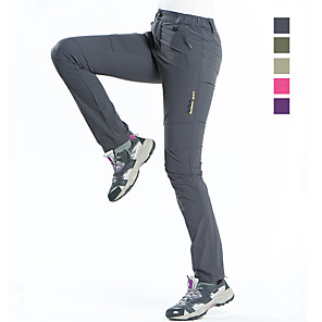 cheap Hiking Trousers & Shorts-Women's Hiking Pants Solid Color Summer Outdoor Waterproof Breathable Quick Dry Stretchy Elastane Pants / Trousers Bottoms Dark Grey Violet Army Green Fuchsia Khaki Camping / Hiking Hunting Fishing S