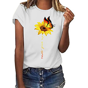 cheap Christmas Decorations-Women's T-shirt Butterfly Sunflower Print Round Neck Tops 100% Cotton Basic Basic Top White
